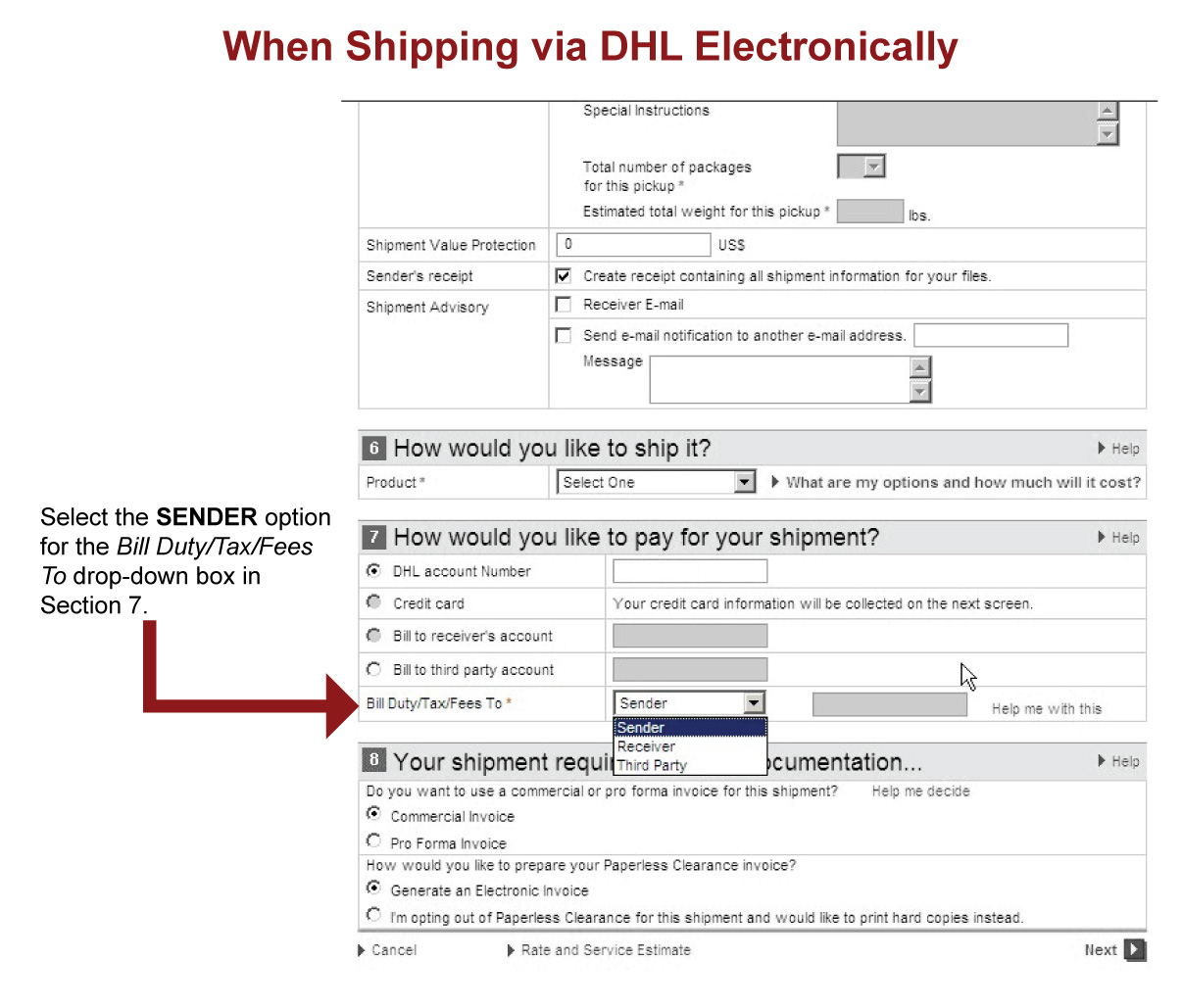 DHL shipping form help.