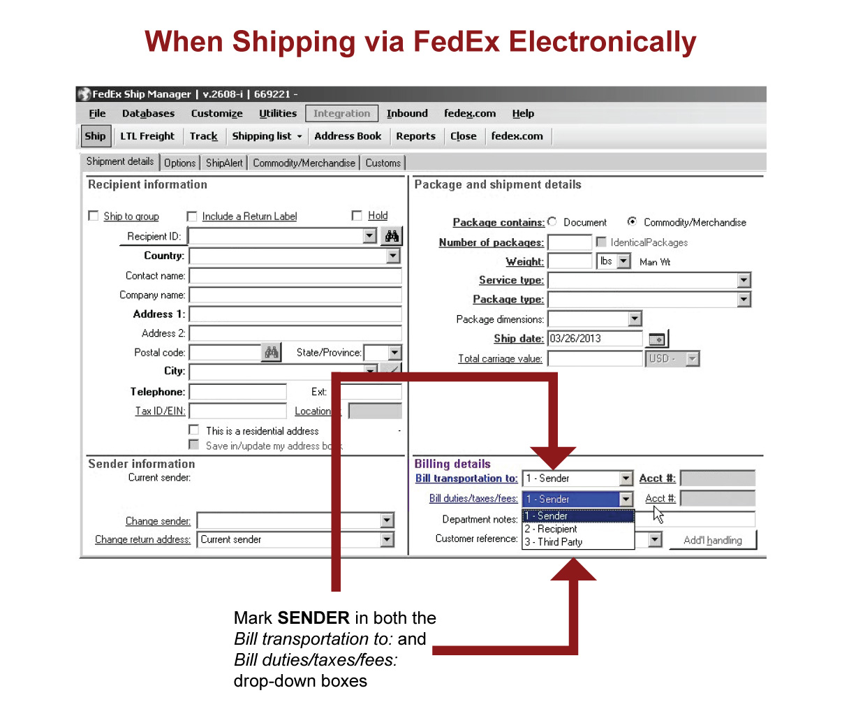 FedEx shipping form help.