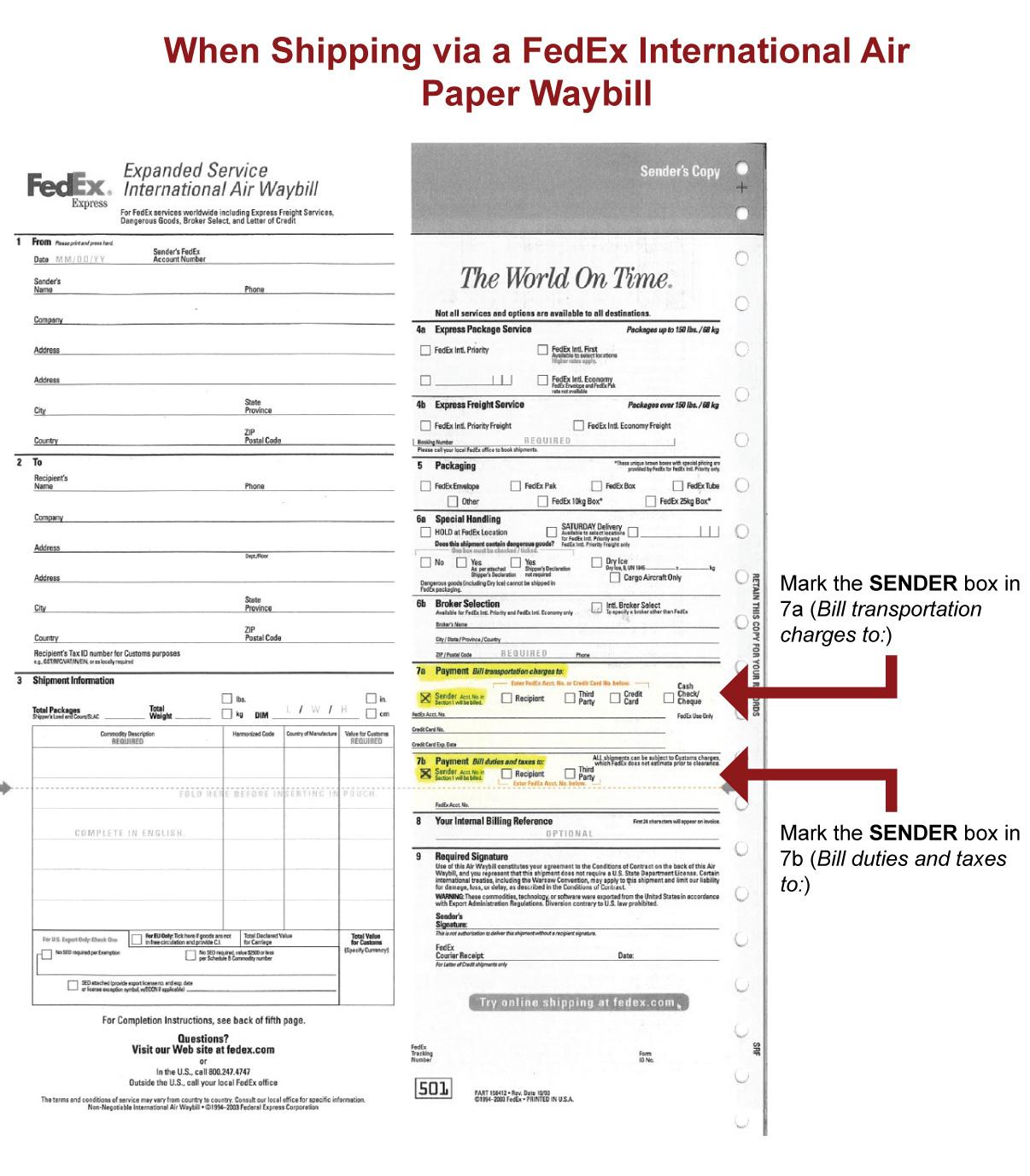 FedEx waybill form help.